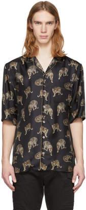 Dolce & Gabbana Black Silk Leopard Shirt