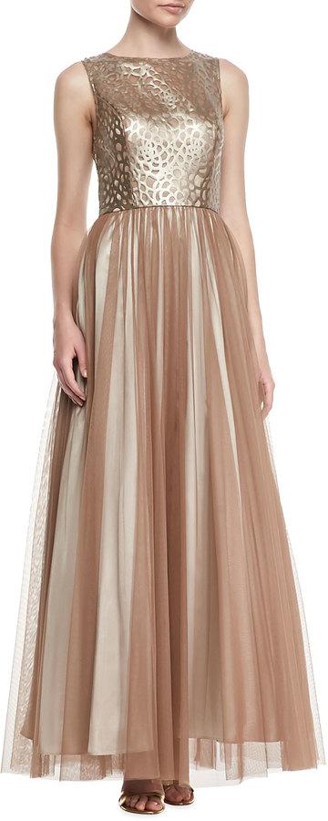 Aidan Mattox Sleeveless Leather & Chiffon Gown