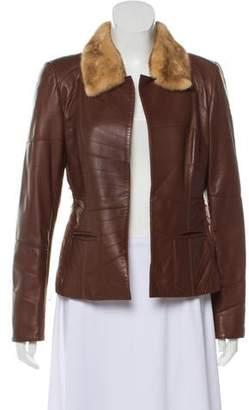 Oscar de la Renta Leather Mink-Trim Jacket