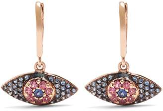 Ileana Makri Sapphire, rodolites & pink-gold earrings