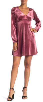 Vanity Room Deep V-Neck Long Sleeve Velour Dress