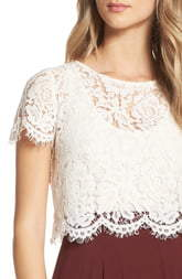 f5103b2c4f6351 Ivory Lace Crop Top - ShopStyle