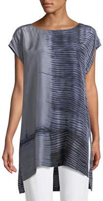 Eileen Fisher Indigo-Printed Sheer Silk Tunic