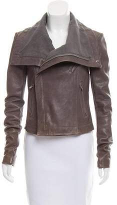 Veda Rib Knit Trimmed Leather Jacket