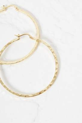 French Connenction Hammered Flat Hoop Earrings