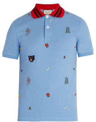 Gucci Embroidered Cotton Polo Shirt - Mens - Light Blue