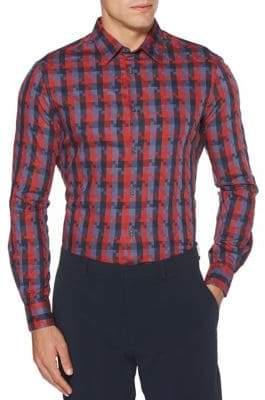 Perry Ellis Checked Jacquard Button-Down Shirt