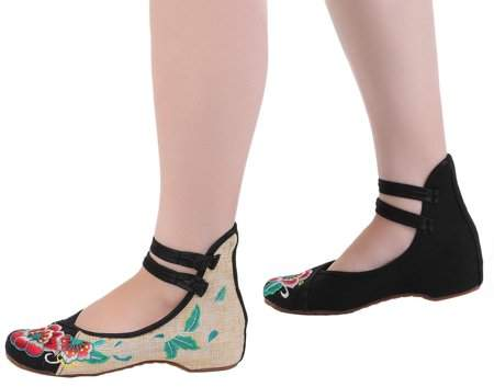 Facetosun Chinese Style Womens Shoe Casual Soft Sole Shoes Comfortable Embroidered Shoes