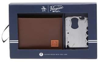 Original Penguin RFID Leather Bi-Fold Wallet & Metal Tool Card