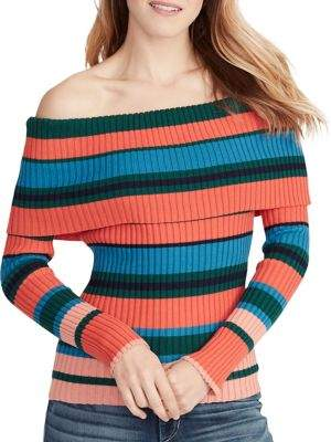 Ella Moss Charlotte Striped Off-The-Shoulder Cotton Sweater