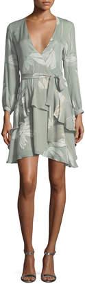 Halston Long-Sleeve V-Neck Printed Silk Flounce Dress
