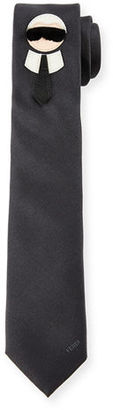 Fendi Karlito Tie with Mink Fur, Black/Gray $550 thestylecure.com