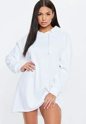 Missguided White Oversized Hooded Sweater Dress