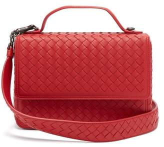 Bottega Veneta - Intrecciato Woven Leather Satchel - Womens - Red