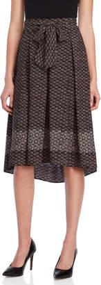 Max Studio Printed Tie-Waist Midi Skirt