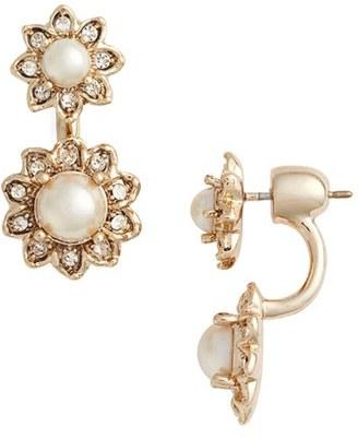 Women's Marchesa Crystal & Imitation Pearl Ear Jackets $45 thestylecure.com