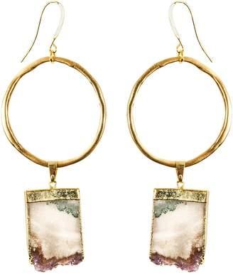 Tiana Jewel - Amethyst Gold Hoop Earrings Sari Collection