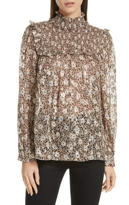 Kate Spade floral park clip dot blouse