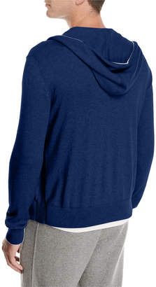 Loro Piana Cashmere-Cotton Zip-Front Hoodie