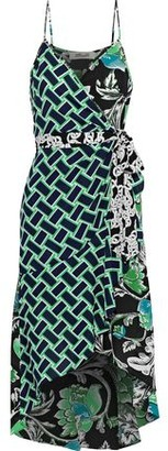 Diane von Furstenberg Katsia Asymmetric Printed Crepe De Chine Wrap Dress