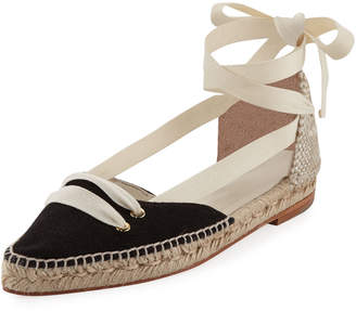 Castaner Colorblock Ankle-Wrap d'Orsay Espadrille, White/Black