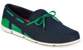 Swims Lace-Up Mesh Boat Loafers