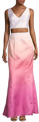 Laundry by Shelli Segal 2-Piece Ombre Cropped Top & Skirt Set