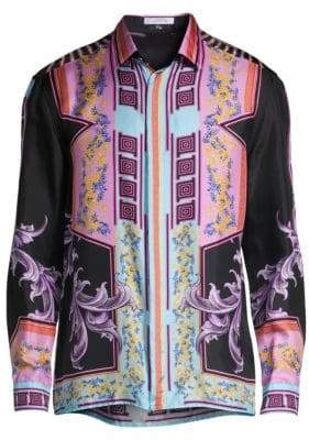 Versace Tokyo Nights Woven Silk Shirt