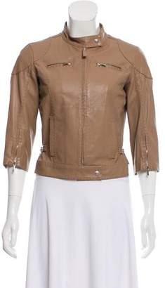 Fendi Leather Three-Quarter Sleeve Jacket