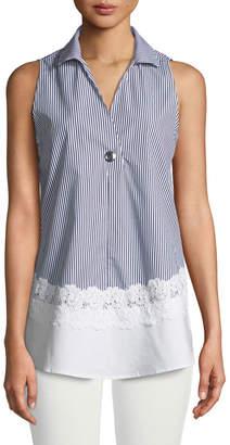 Neiman Marcus Striped Contrast-Hem Blouse