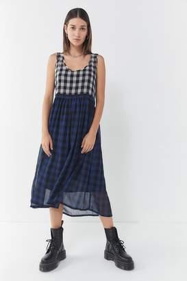 Urban Outfitters Cameron Mixed Plaid Midi Dress