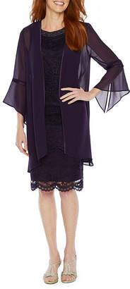 MAYA BROOKE Maya Brooke 3/4 Sleeve Beaded Neckline Jacket Dress