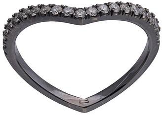 Eva Fehren 18kt white gold Off-Set pave diamond baby Shield ring