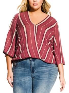 City Chic Trendy Plus Size Faux-Wrap Top