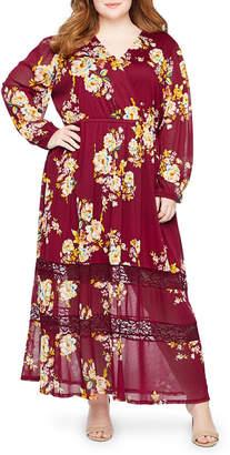 Boutique + + Long Sleeve Floral Maxi Dress - Plus