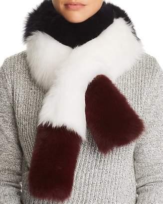 Maximilian Furs Color-Blocked Fox Fur Pull-Through Scarf - 100% Exclusive