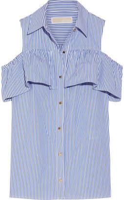 MICHAEL Michael Kors - Cold-shoulder Striped Stretch-cotton Blouse - Blue $90 thestylecure.com