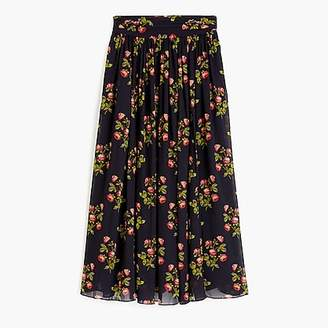 J.Crew Petite Point Sur floral skirt in crinkle chiffon