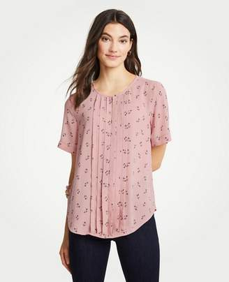 Ann Taylor Floral Pleat Front Keyhole Tee