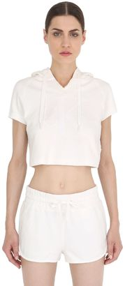 Hooded Cropped Cotton Jersey Sweatshirt $139 thestylecure.com