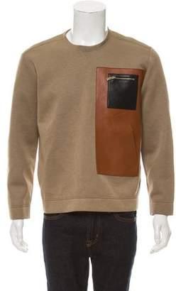 Valentino Leather-Trimmed Neoprene Sweatshirt