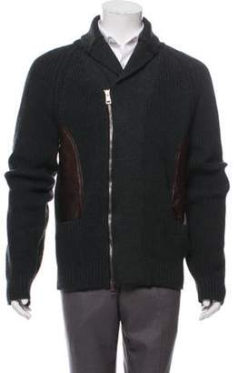 Gucci Leather-Accented Wool Cardigan wool Leather-Accented Wool Cardigan