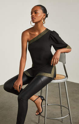 BCBGMAXAZRIA Metallic-Trimmed One-Shoulder Top
