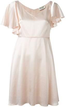 Saint Laurent flutter sleeve satin dress