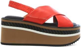 Robert Clergerie Omin Terracotta Leather Flatform Sandals