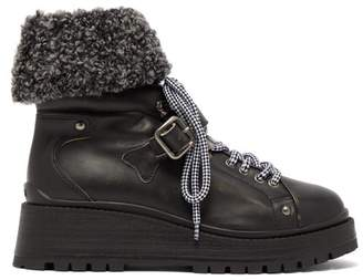 Miu Miu Fleece Cuff Leather Ankle Boots - Womens - Black