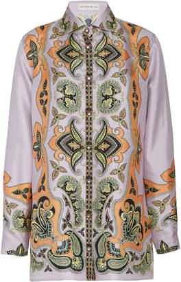 Etro Boyfit Printed Silk Shirt