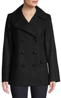 London Fog Melton Double-Breasted Coat