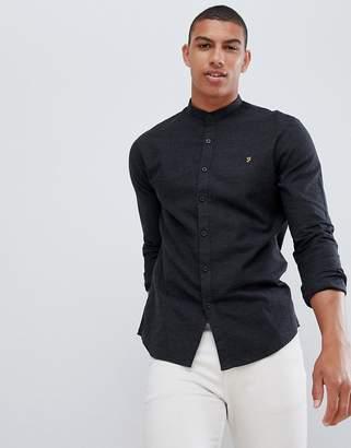 Farah Steen slim fit textured grandad collar shirt in grey