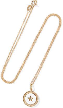 Andrea Fohrman Full Moon Phase 18-karat Gold, Enamel And Diamond Necklace